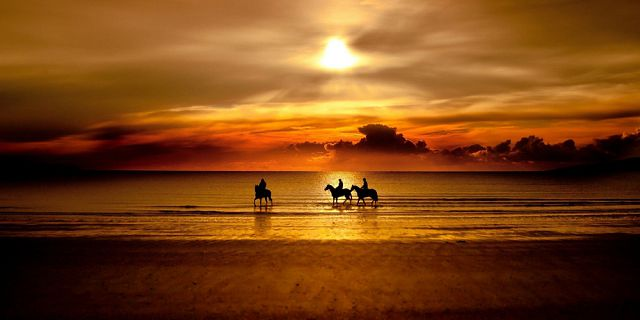 romantic sunset horse riding on the riambel beach (3)