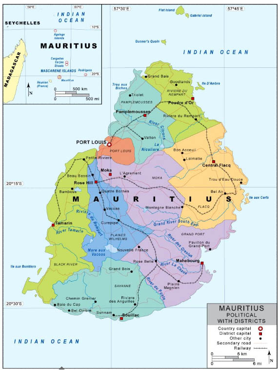 Mauritius Political (Districts) Map - Mauritius Attractions