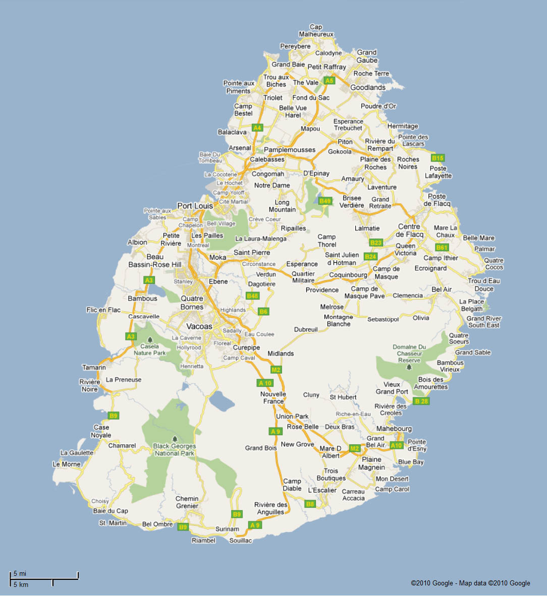 Mauritius Roads Map Map to Mauritius Roads Mauritius Attractions