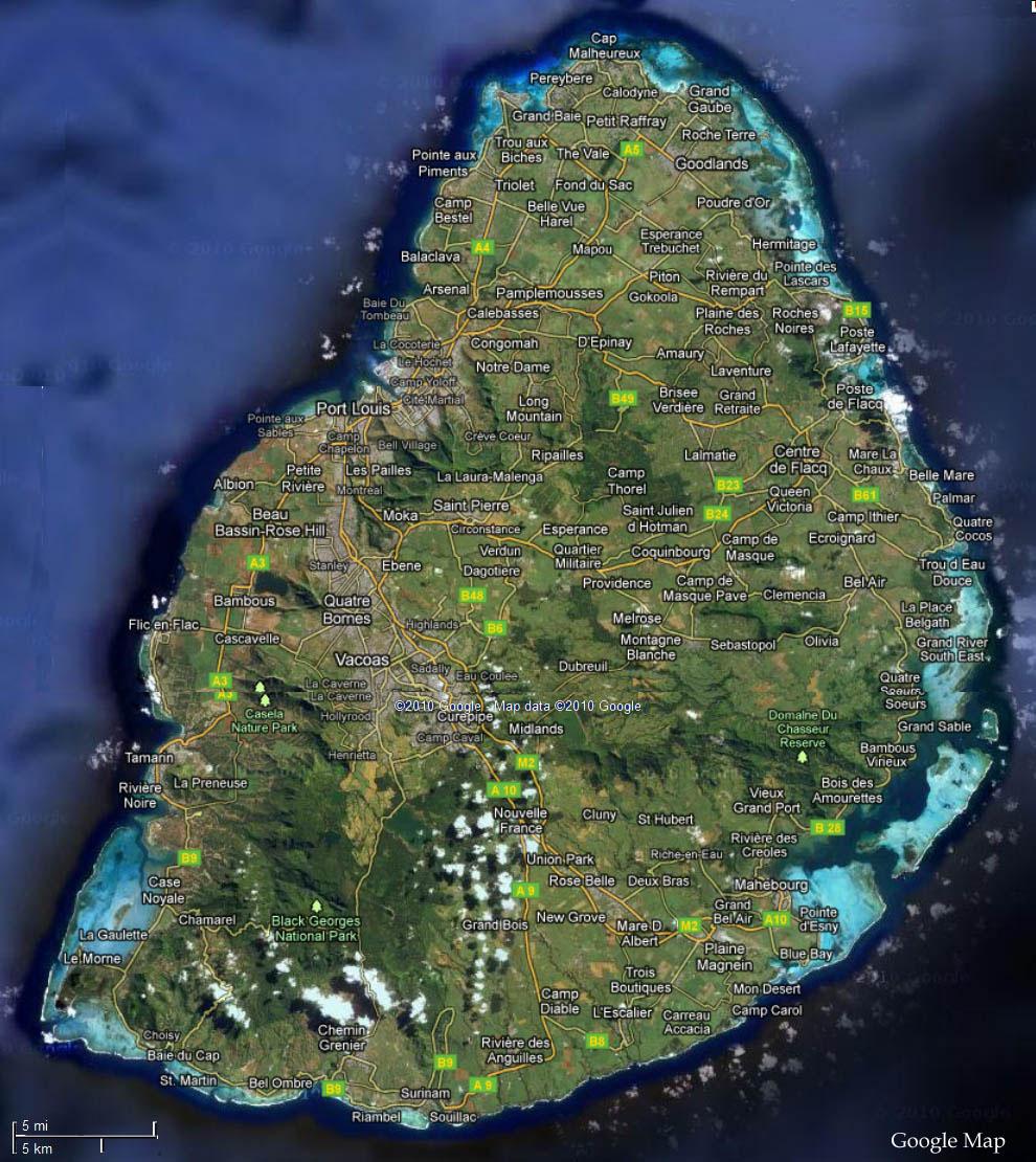 Mauritius Satellite Map Mauritius Attractions - Latest maps satellite view