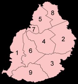 Mauritius Discticts Map